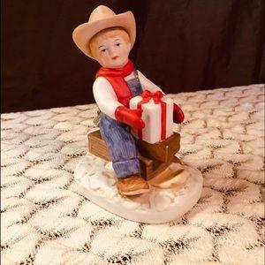 Vintage Denim Days Homeco Figurine Boy w/ present